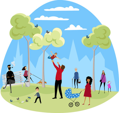people walk in the Park with children Illustration
