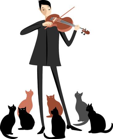 violinist and cats Illusztráció