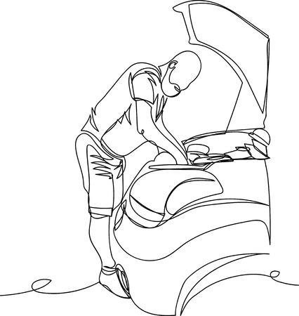 man repairing the car 向量圖像