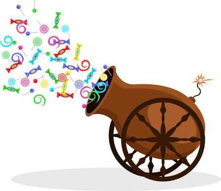 Zirkuskanone schießt Süßigkeiten