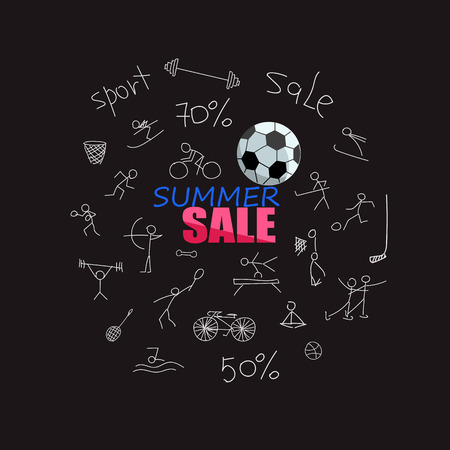 sale of sports equipment. linear illustration