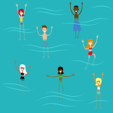 children swim in the sea. vector illustration