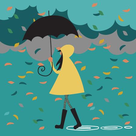 girl in nature under an umbrella. autumn leaf fall 向量圖像