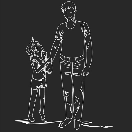 father and son. graphic vector drawing. sketch