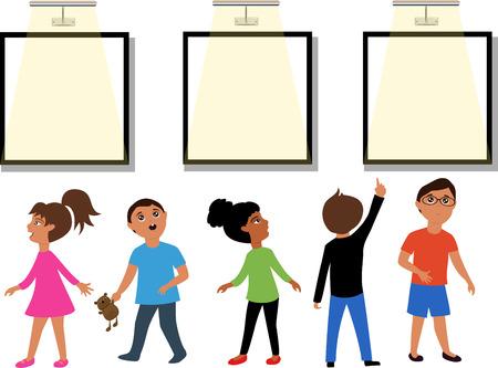 Children in the Museum 向量圖像