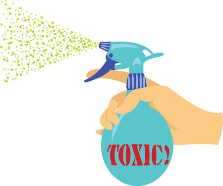 Sproeier met giftige vloeistof Vector Illustratie