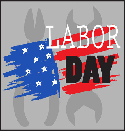 labor day. illustration with American flag