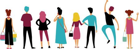 un groupe de personnes vêtues de vêtements colorés se tient le dos