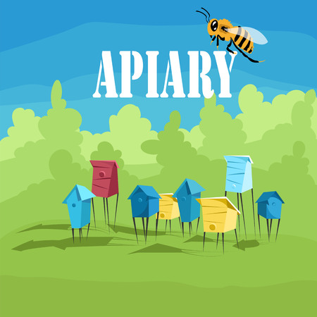 apiary. colored hives. vector illustration Illustration