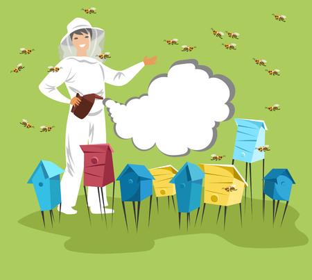 l'apiculteur du rucher pollinise les abeilles avec de la fumée