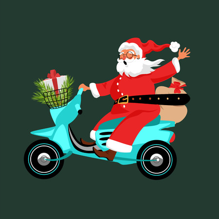 Santa Claus rides a scooter and carries gifts
