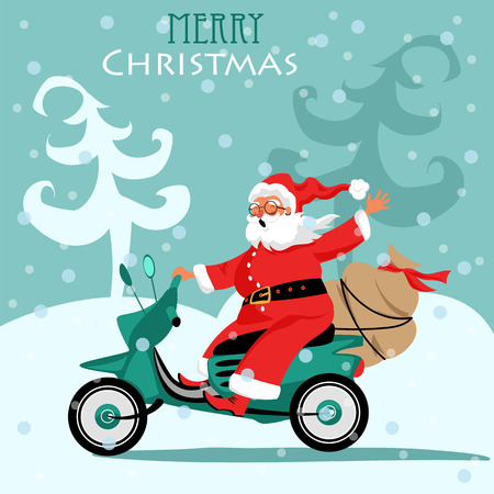 Santa Claus rides a scooter with gifts