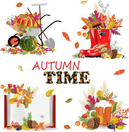 set of autumn illustrations Vetores