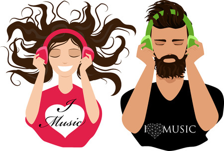 guy and girl listening to music in headphones
