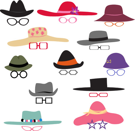 hats with glasses set Ilustrace