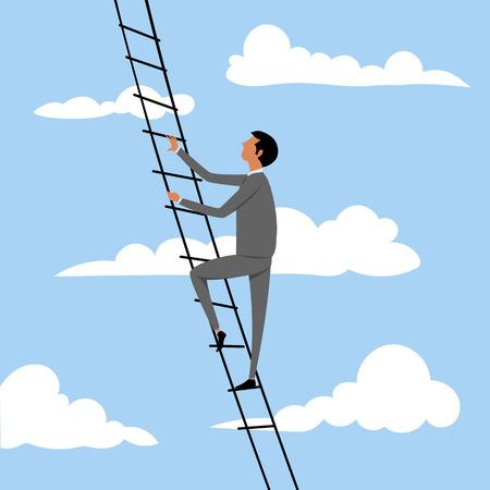 l'homme monte les escaliers vers le ciel