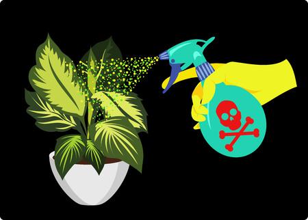watering plants with chemicals Ilustração