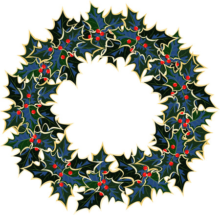 Wreath of Holly. Christmas vector image