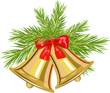 Christmas bell on fir tree branches