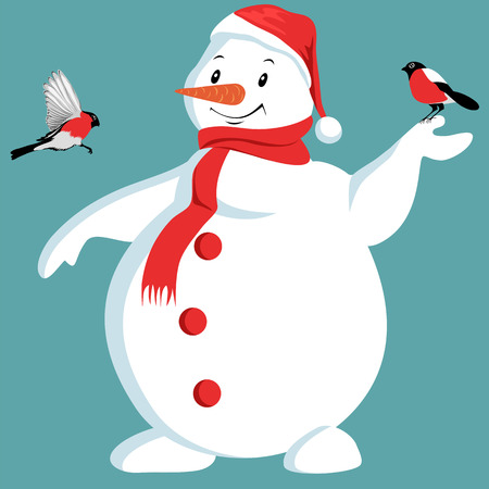 christmas snowman and bullfinches. vector picture  イラスト・ベクター素材