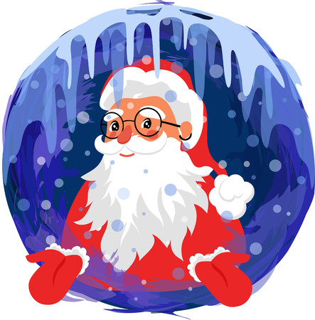 santa claus. Santa Claus in a round frame of snow and ice