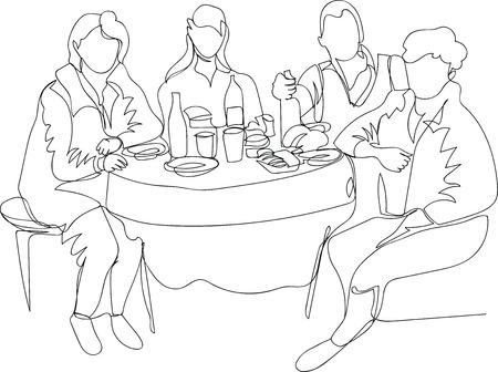 people eat at the table. single line drawing