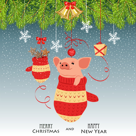 Christmas illustration for the year of the pig. pig in a mitten and Christmas decorations Illustration