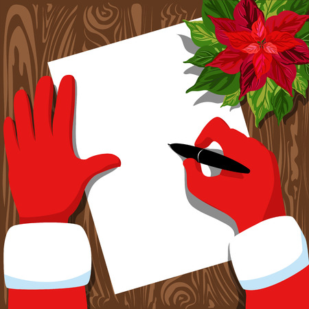 Santas writing a letter. illustration with Santas hands