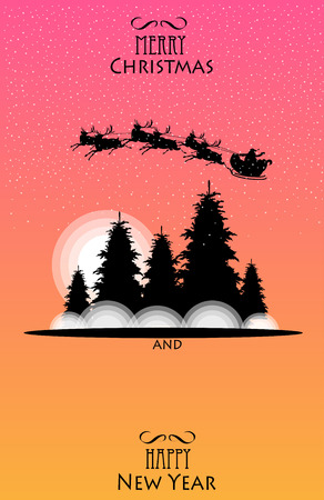 Christmas poster. Santa on reindeer. the silhouette of the city