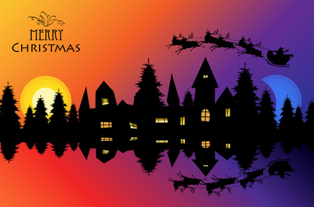 the evening city is reflected in the water. Santa is flying over the silhouette of the city