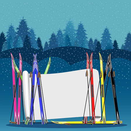 winter illustration with skis and blank banner