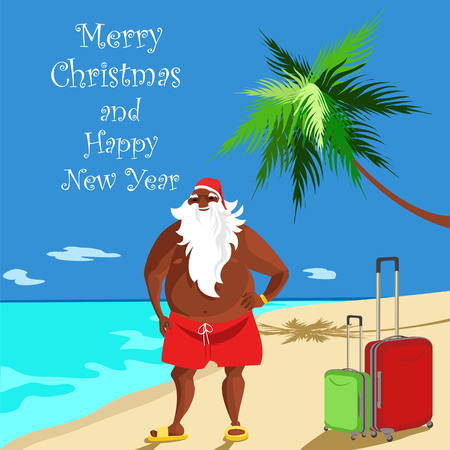 Santa African American. Santa Claus on the beach