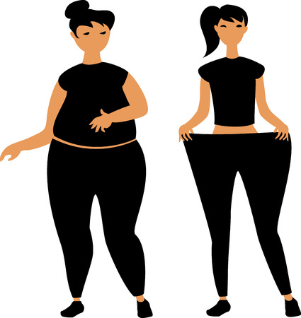 immagine vettoriale di una ragazza grassa e magra Vettoriali