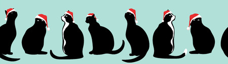 cats in Santa hats. seamless horizontal background