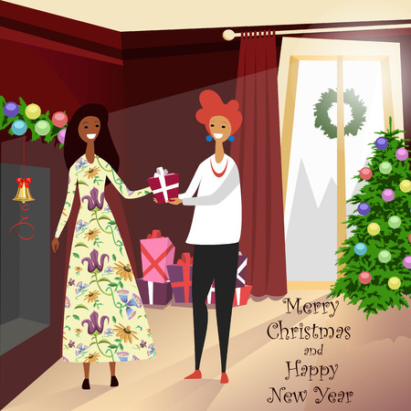 people come to visit at Christmas. people give gifts Illustration