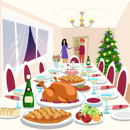 people come to visit at the Christmas party. elegant table Illustration
