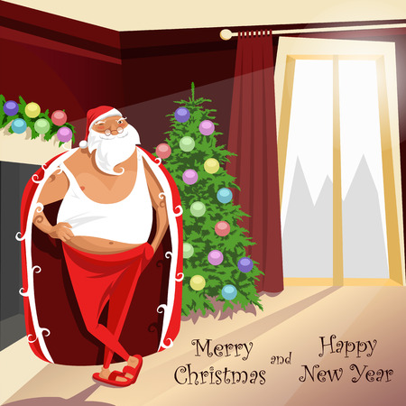 Santa Claus is home in a Bathrobe and Slippers. merry Christmas illustration