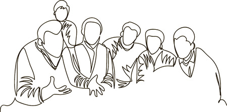 a group of people discuss the work. one continuous line Vetores
