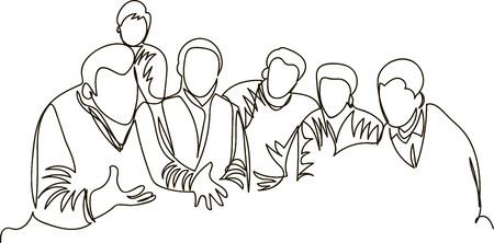 un groupe de personnes discute du travail. une ligne continue Vecteurs