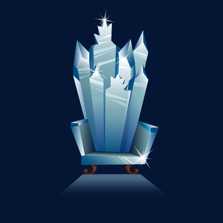 ice is a fantastic throne. crystal chair. vector image