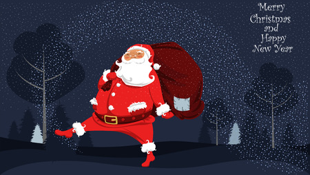 Santa Claus comes with a bag of gifts at the North pole  イラスト・ベクター素材