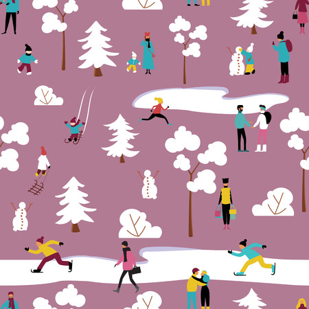 people relax in the Park in winter. seamless pattern