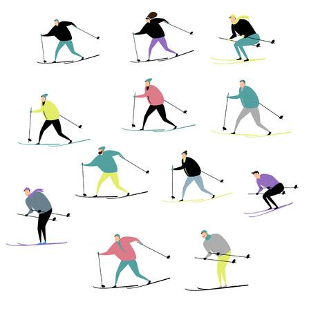 people ski. active winter sports. a set of vectors