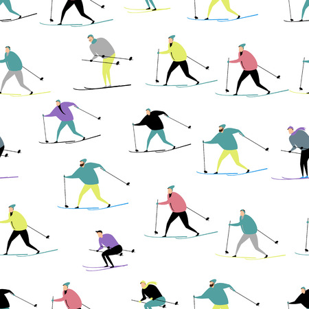 people skiing. active winter sport. seamless pattern
