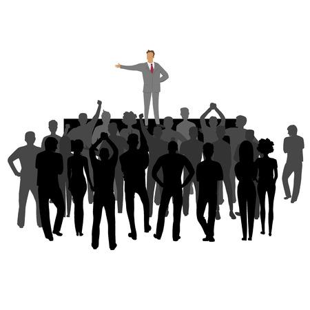 Personengruppe bei der Kundgebung. Gruppenführer. Silhouette von Menschen
