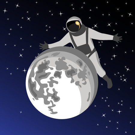 cosmonaut in outer space on the back of the moon