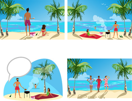 relax on the beach. people relax on the ocean. people roast meat. set of pictures Stock Illustratie