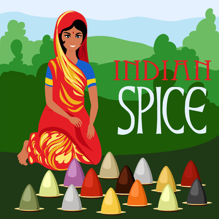 the seller of Indian spices. woman sells spices