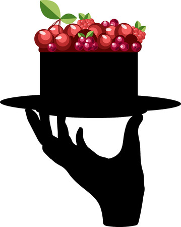 berry cake. hand silhouette holding a plate with cake