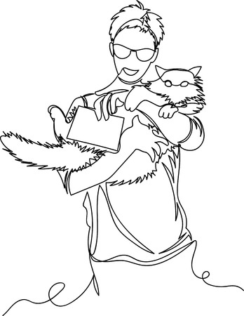 girl holding a cat and a sign. one line. infinite vector line Иллюстрация